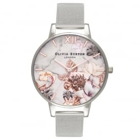 Olivia Burton Marble Floral Rose Gold and Silver Mesh Watch ~ OB16CS10