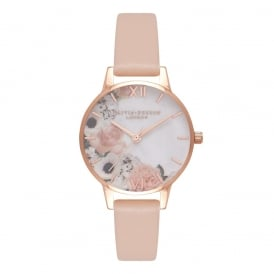 Olivia Burton Marble Florals Nude Peach & Rose Gold Watch ~ OB16MF03