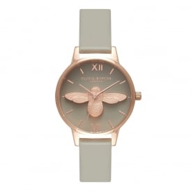 Olivia Burton Midi 3D Bee Grey Dial & Rose Gold Watch ~ OB15AM77
