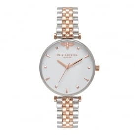 Olivia Burton Queen Bee Silver and Rose Gold Watch ~ OB16AM93