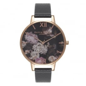 Olivia Burton Signature Floral Black and Rose Gold Watch ~ OB15WG12
