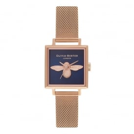 Olivia Burton Square Dial 3D Bee Midnight & Rose Gold Mesh Watch ~ OB16AM96