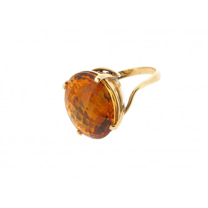 Sarah Layton Burnt Orange Citrine Dress Ring ~ 9YGCITRINE
