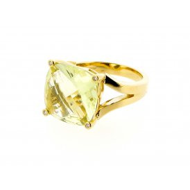 Sarah Layton Lime-Green Quartz Dress Ring ~ 13.5CTGRNQTZFACETEDRING