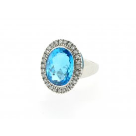 Sarah Layton Topaz & Diamond Cocktail Ring ~ SLB-WG-R-002