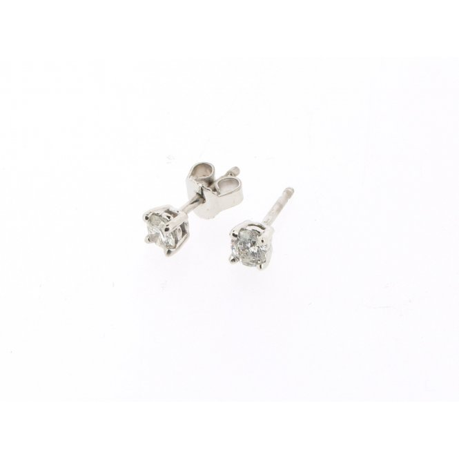 Sarah Layton White Gold Solitaire Diamond Earrings ~ MWER0064/040