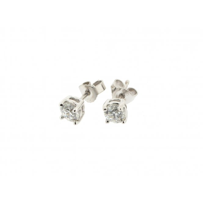 Sarah Layton White Gold Solitaire Diamond Earrings ~ MWER0064/050