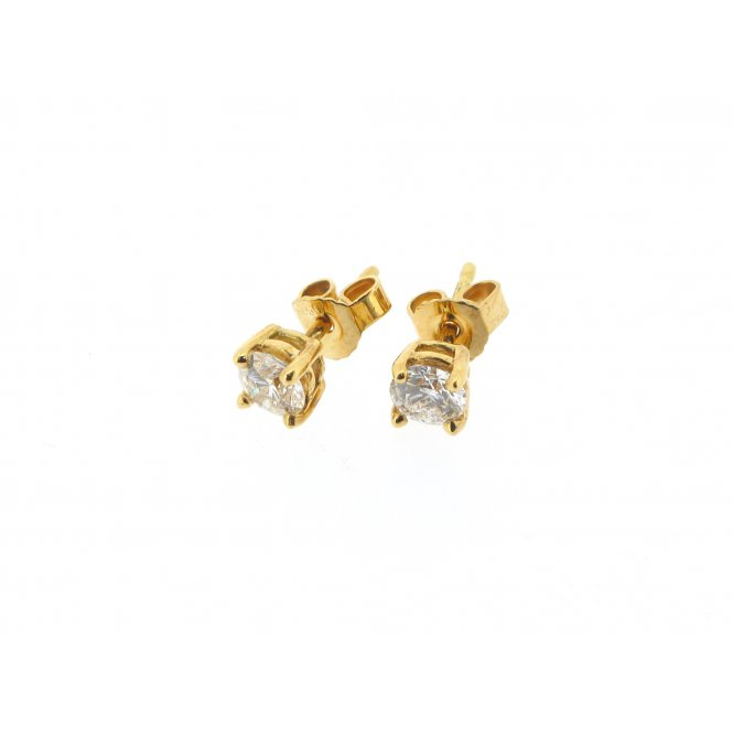 Sarah Layton Yellow Gold Solitaire Diamond Earrings ~ MGER0064/047