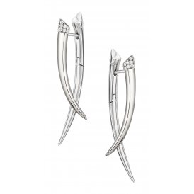 Shaun Leane Silver & Diamond Crossover Tusk Earrings ~ SLS685
