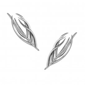 Shaun Leane Silver & Diamond Feather Stud Earrings