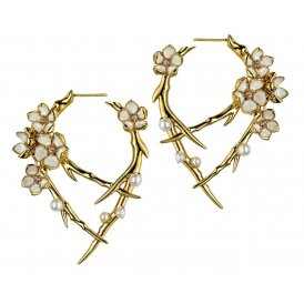 Shaun Leane Silver & Gold Vermeil Cherry Blossom Hoop Earrings