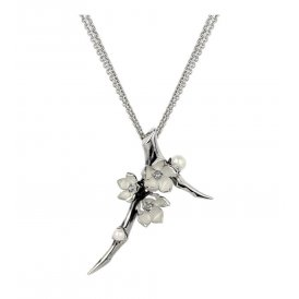Shaun Leane Silver Large Diamond & Pearl Branch Cherry Blossom
