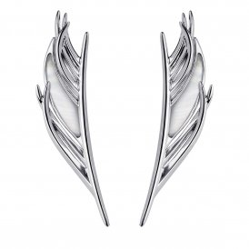 Shaun Leane Silver & Mother of Pearl Feather Drop Earrings
