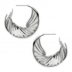 Shaun Leane White Feather Hoop Earrings - Silver/Mother of Pearl ~ SLS657
