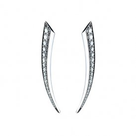 Shaun Leane White Gold And Diamond Small Sabre Earrings