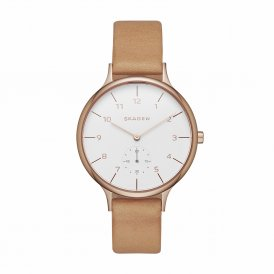 Skagen Anita Sub-Eye Leather Ladies Watch ~ SKW2405