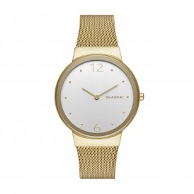 Skagen Freja Steel Gold Mesh Ladies Watch