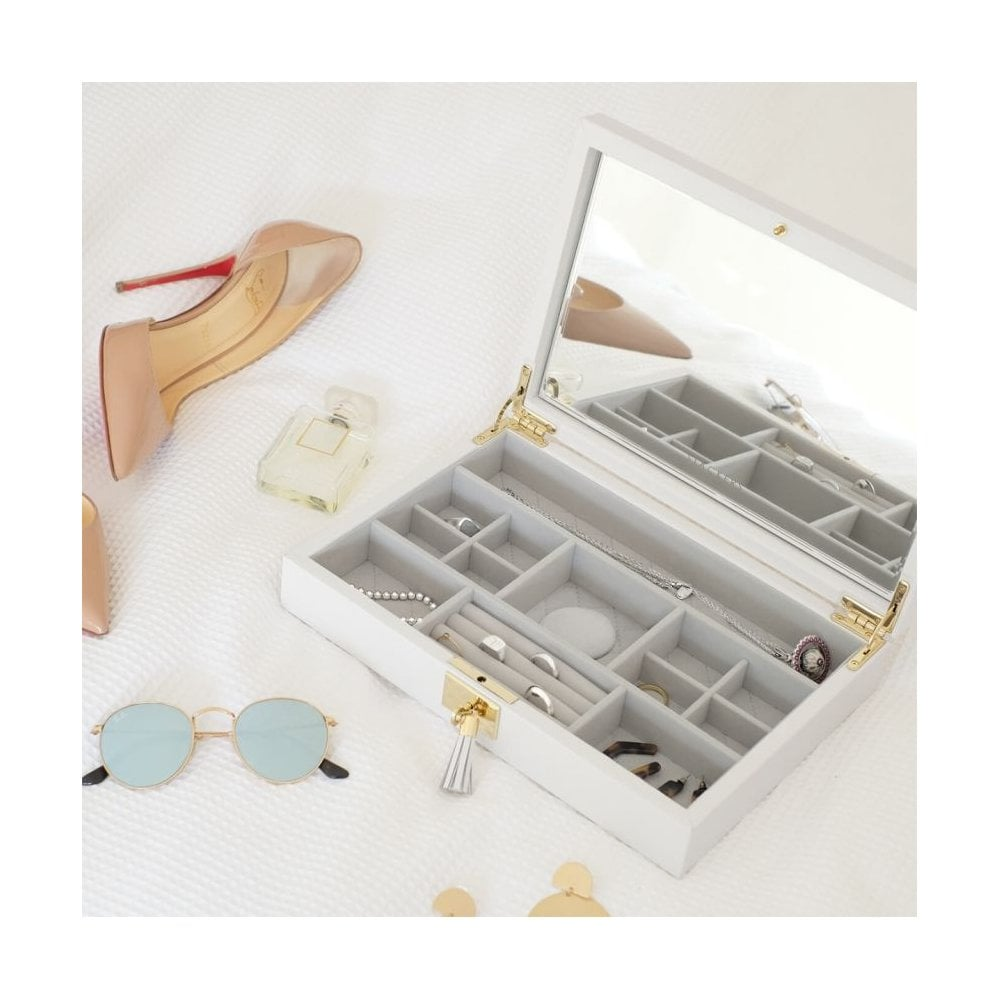 Stackers Orchid White Zipped Leather Travel Jewellery Box Home Kitchen