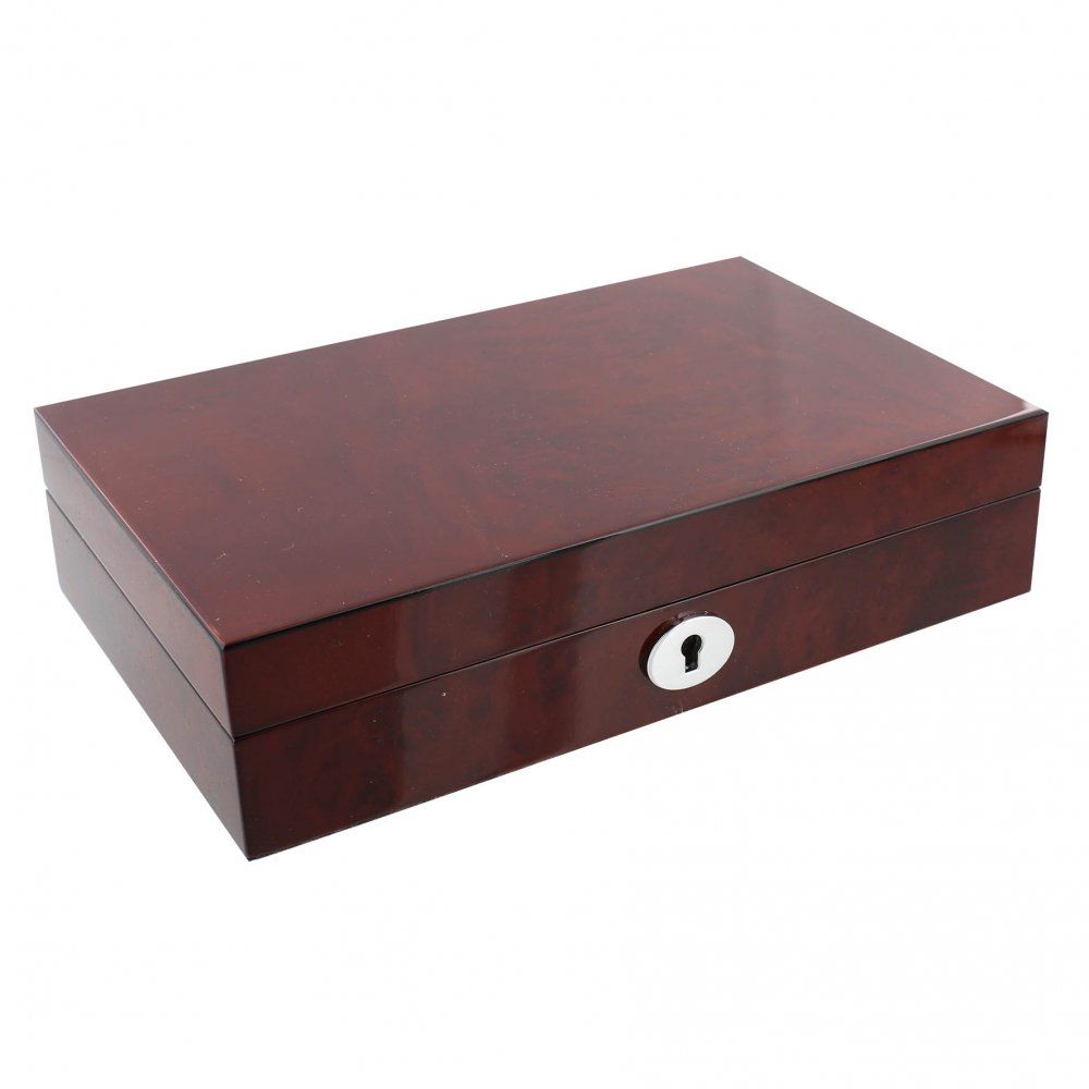 Stratton Wooden Jewellery Box & Lock High Gloss Fin Natural ...