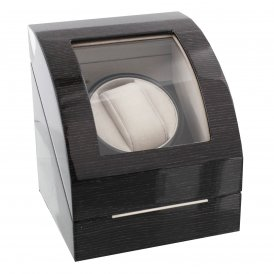 Stratton Wooden Watch Winder Black Grain Finish.