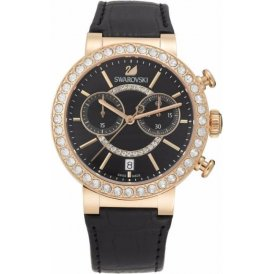 Swarovski Citra Sphere Chrono Black Rose Gold Tone Watch 5055209