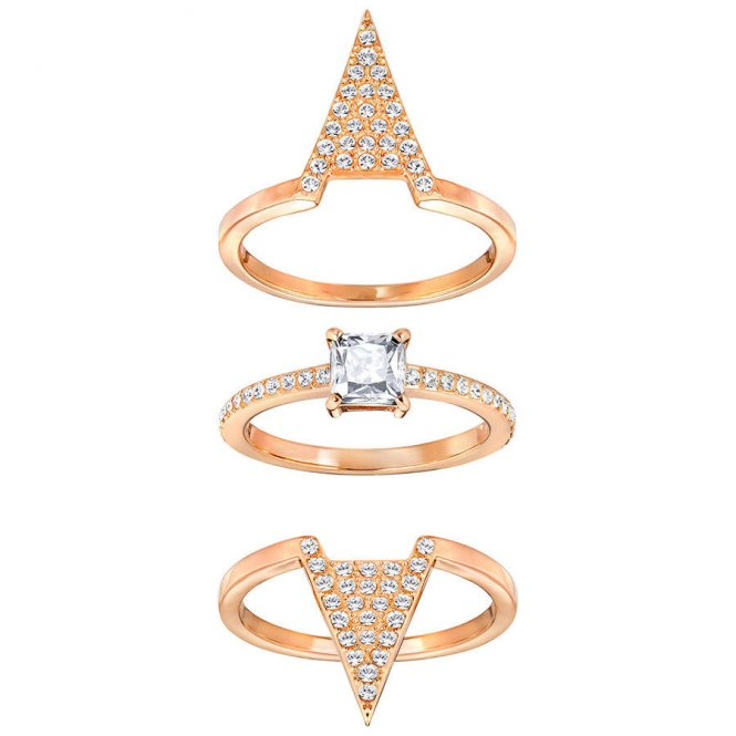 Swarovski Funk Ring Set - Rose Gold - Size 58 ~ 5257468