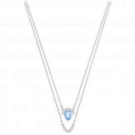 Swarovski Gallery Pear Blue Layered Necklace ~ 5274841