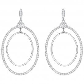 Swarovski Gilberte Hoop White Pierced Earrings ~ 5279777