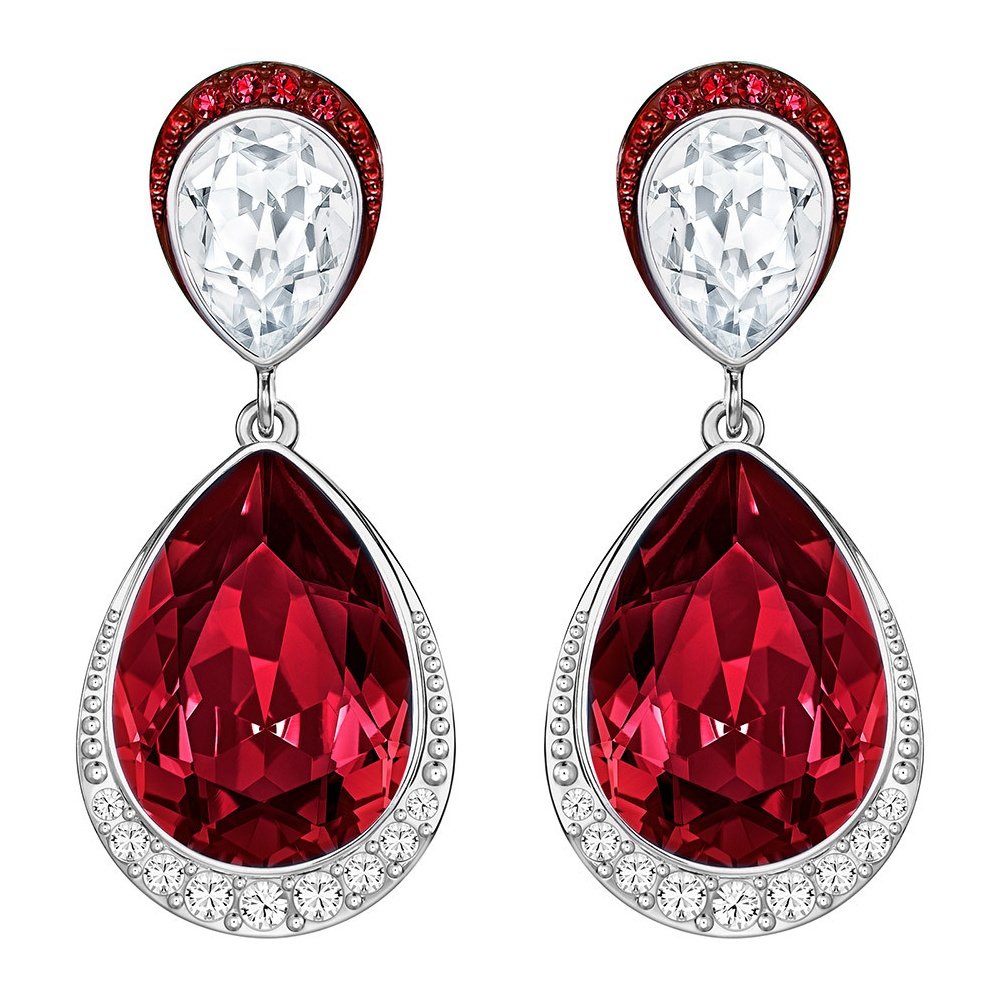 earrings siam red swarovski pave riam crystal drop elements