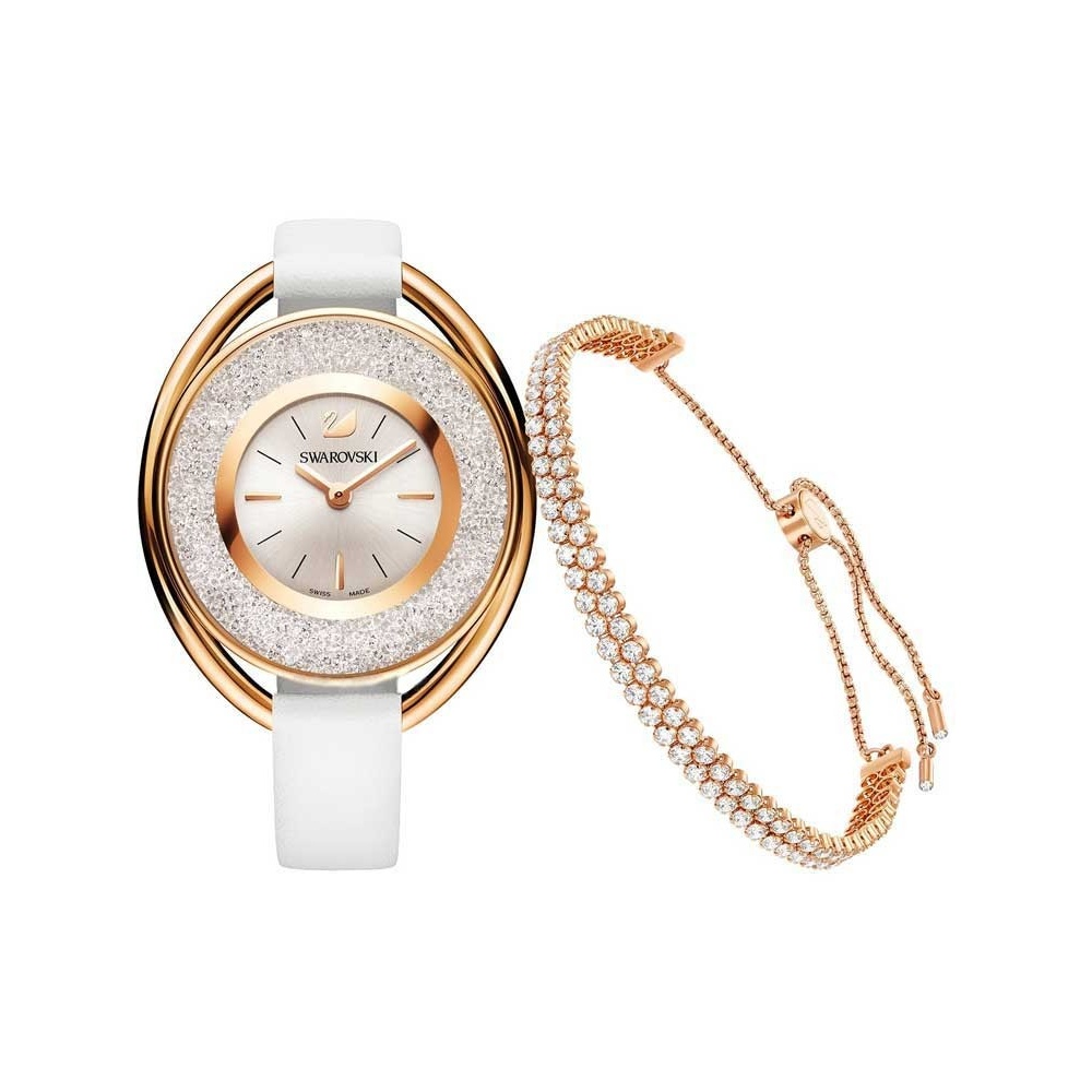Swarovski Rose Gold Crystalline Oval Watch   Bracelet Set - Watches ... a200e18d86