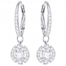 Swarovski Sparkling Dance Round Rhodium Earrings ~ 5272366