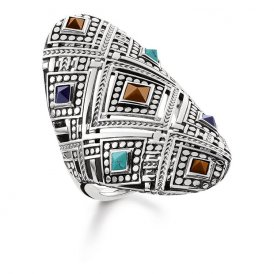 Thomas Sabo Silver Africa Ornaments Ring 56 ~ TR2128-361-7-56