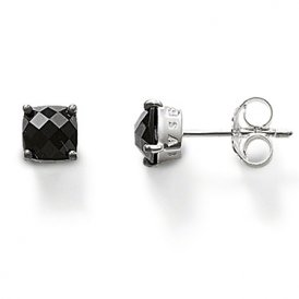 Thomas Sabo Silver Black Square CZ Stud Earrings
