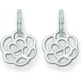 Thomas Sabo Silver Flower Hoop Earrings ~ CR574-051-14