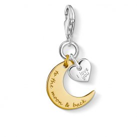 Thomas Sabo Silver & Gold Love To The Moon Charm ~ 1443-413-39