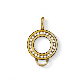 Thomas Sabo Yellow Gold Round CZ Channel Set Charm Carrier ~ X0185-414-14