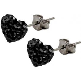 Tresor Paris Black Bon Bon Heart Earrings 8mm 017787