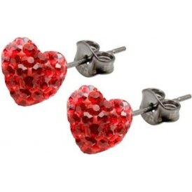 Tresor Paris Red Bon Bon Heart Earrings 8mm 017627