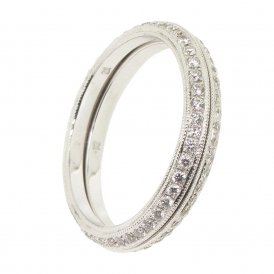 Ungar & Ungar 18ct White Gold 2-Piece Full Diamond Rings