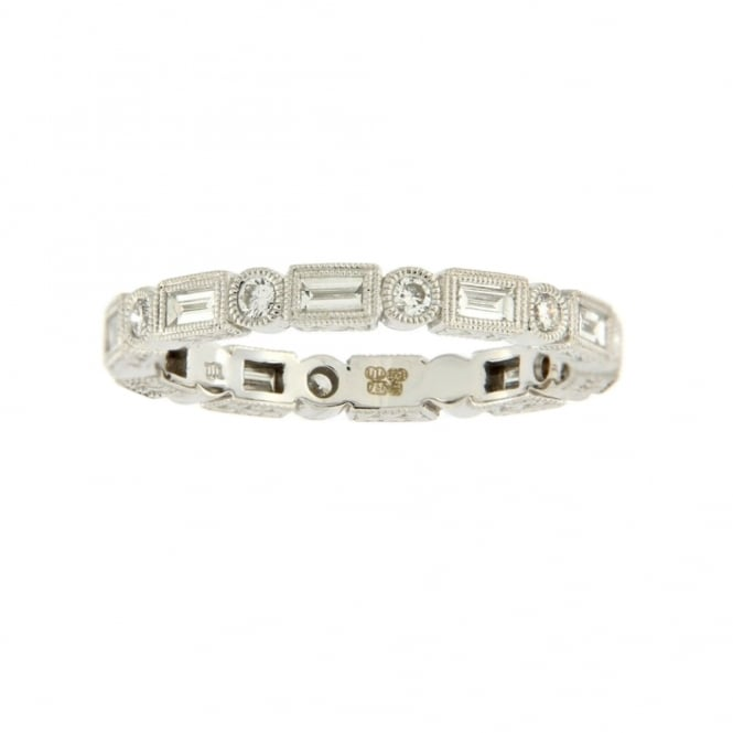 Ungar & Ungar 18ct White Gold Baguette & Round Full Diamond Ring