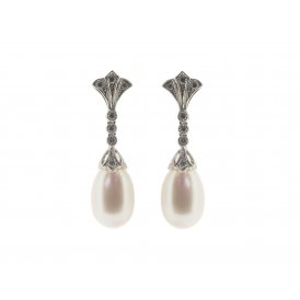 Ungar & Ungar 18ct White Gold Pearl & Diamond Drop Earstuds
