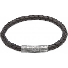 Unique Black Leather Bracelet 21cm ~ B322BL/21CM