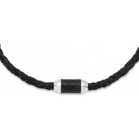 Unique Black Leather Necklace ~ K131BL/45CM