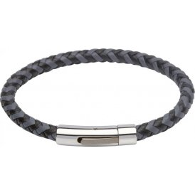 Unique Grey Black Leather Bracelet 21cm ~ B284GR/21CM