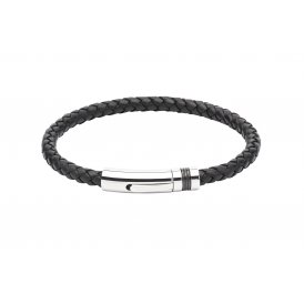 Unique Leather Bracelet Black 19cm ~ B345BL/19CM