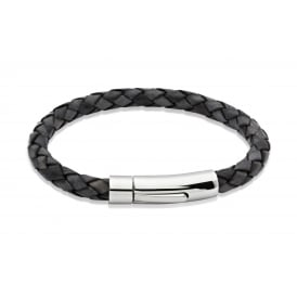 Unique Leather Bracelet Black 21cm ~ A40ABL/21CM