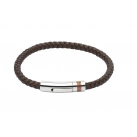 Unique Leather Bracelet Dark Brown 19cm ~ B345DB/19CM