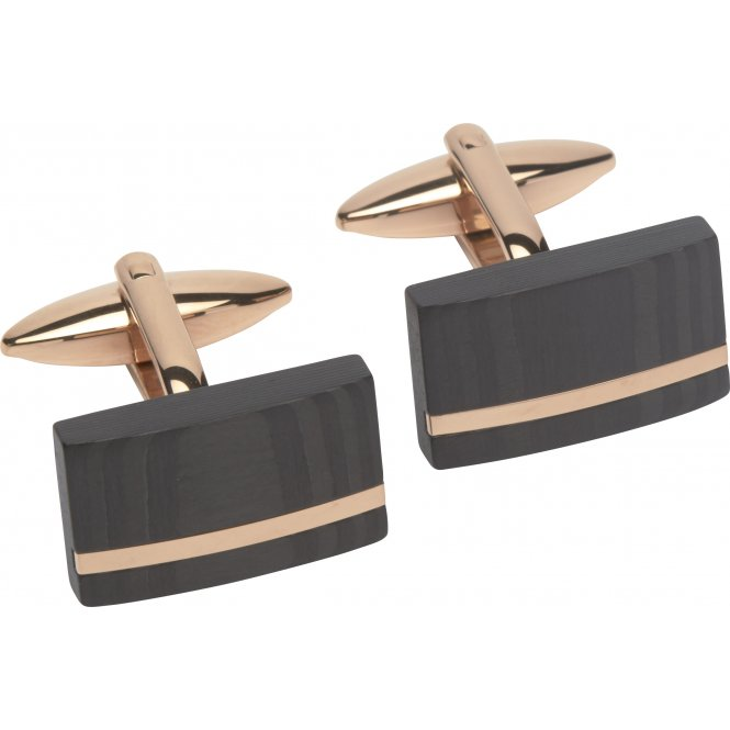 Unique Steel Cufflinks Rose Gold ~ QC-189