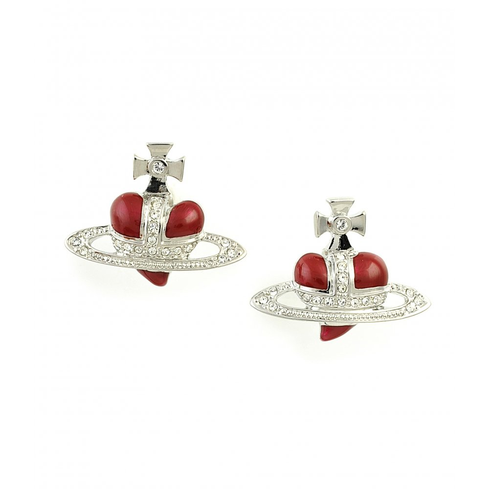 Vivienne Westwood Diamante Red Heart Stud Earrings