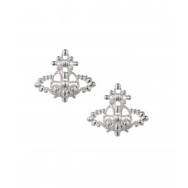 Vivienne Westwood Isolde Bas Relief Rhodium Earrings ~ BE615/2
